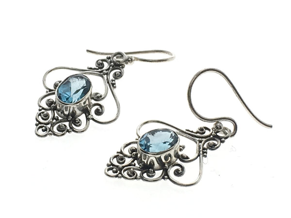Blue Topaz Filagree Drop .925 Sterling Silver Earrings - Essentially Silver Jewelry