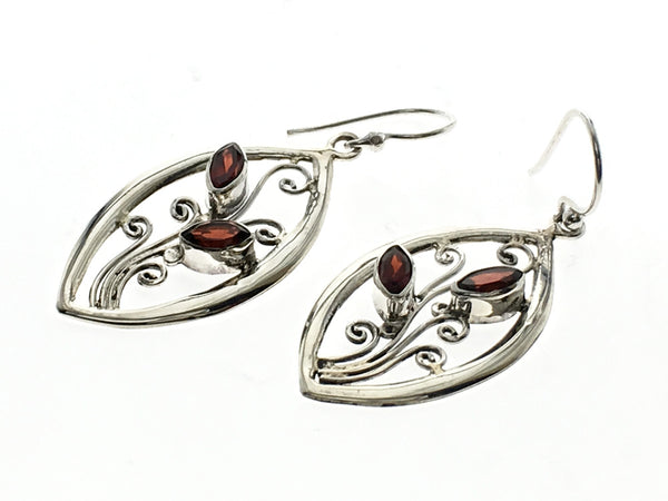 Garnet .925 Sterling Silver Leaf Drop Earrings - Essentially Silver Jewelry