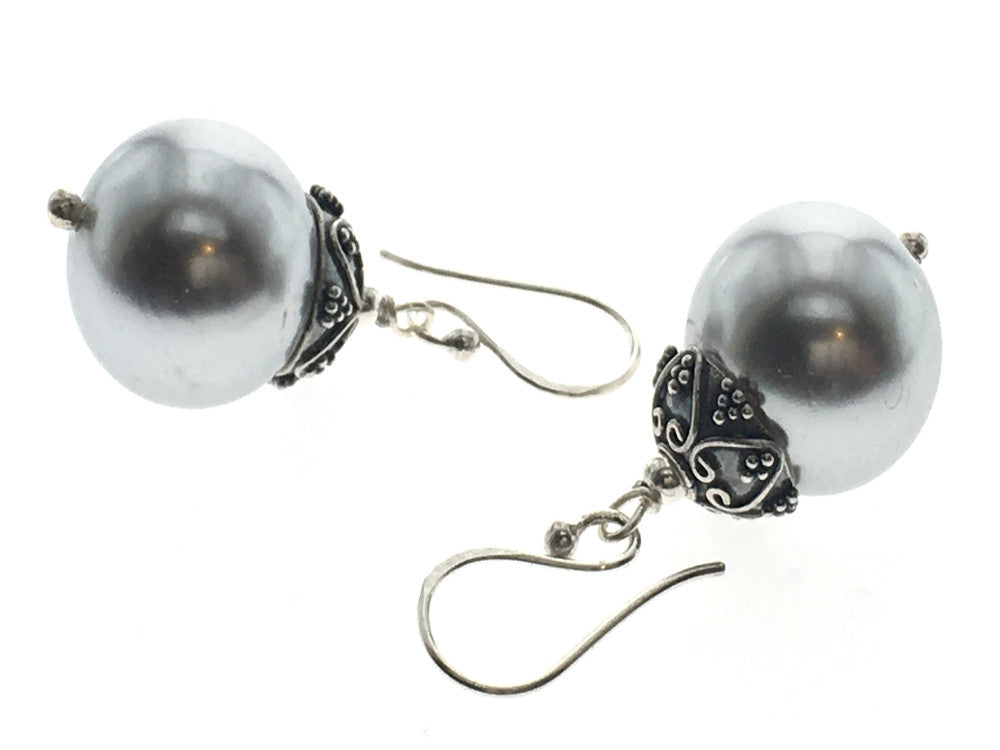 Pearl 14mm Ball Sterling Silver Drop Earrings - Essentially Silver Jewelry