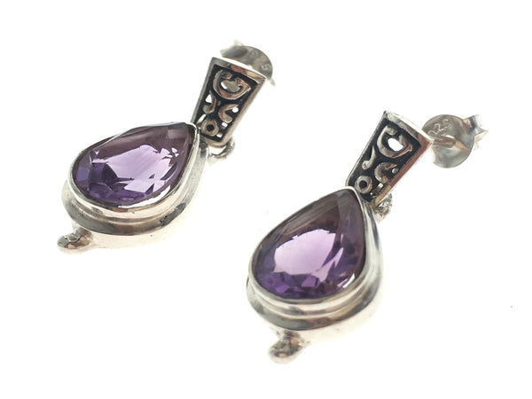 Amethyst Teardrop .925 Sterling Silver Earrings - Essentially Silver Jewelry