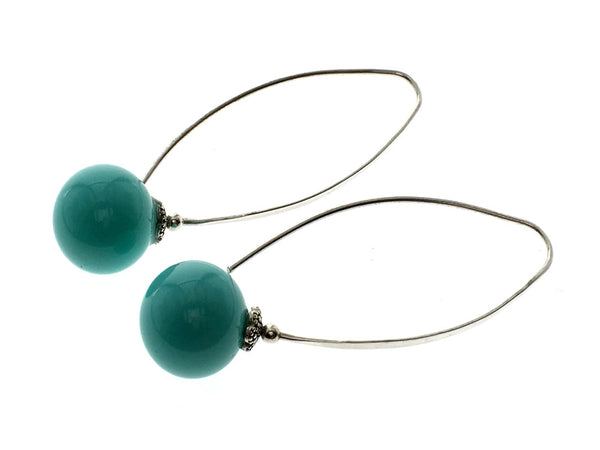 Turquoise Like 14mm Ball .925 Sterling Silver Drop Earring - Essentially Silver Jewelry