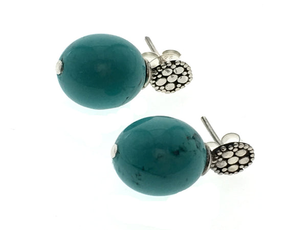 Turquoise Like 12mm Ball Drop .925 Sterling Silver Stud - Essentially Silver Jewelry