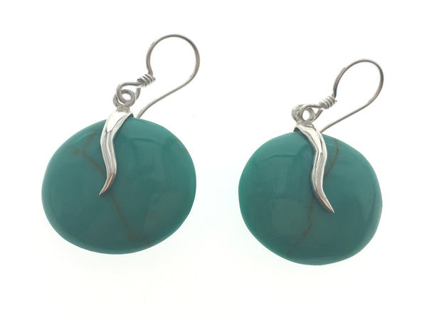 Turquoise Like Round .925 Sterling Silver Earring - Essentially Silver Jewelry