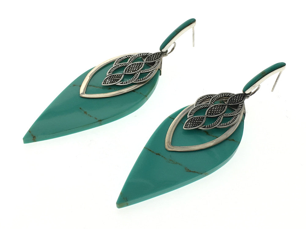 Turquoise Like .925 Sterling Silver Wing Earring - Essentially Silver Jewelry
