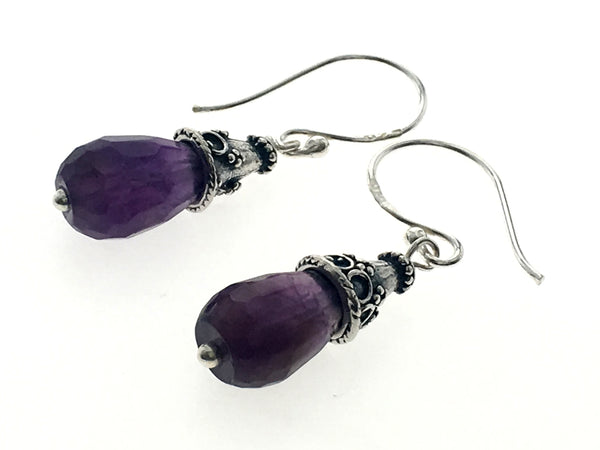 Amethyst Like Faceted Drop Sterling Silver Earrings