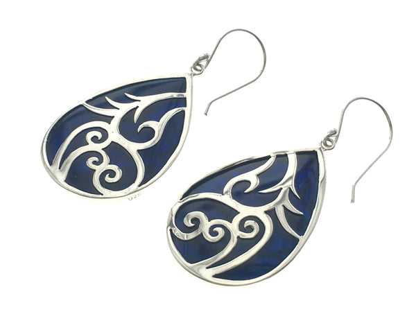 Paua Dyed Blue Sterling Silver Carving Earrings