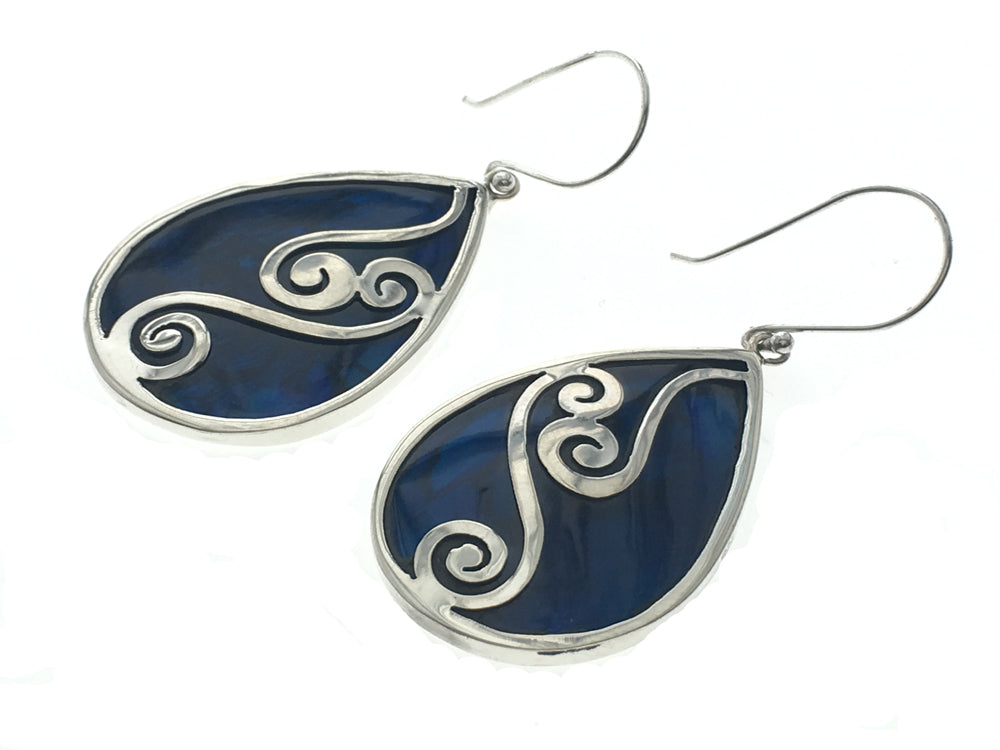 Paua Dyed Blue Sterling Silver Overlay Earrings