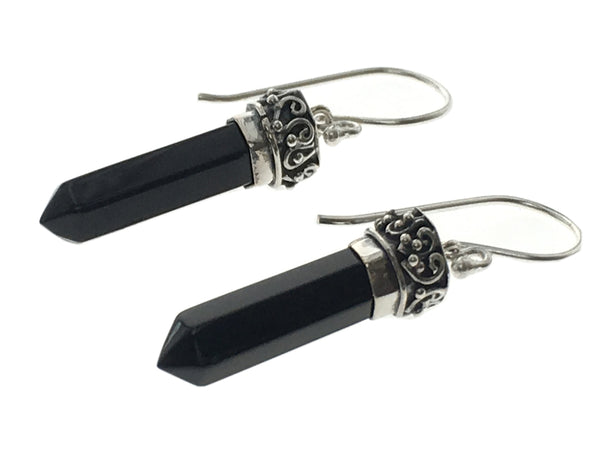 Onyx Double Terminated Point Sterling Silver Earrings
