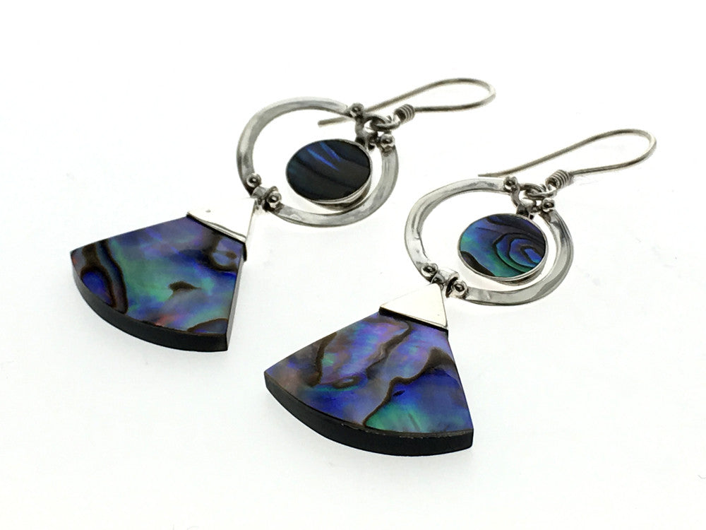 Paua Shaped Drop Sterling Silver Earring - Essentially Silver Jewelry
