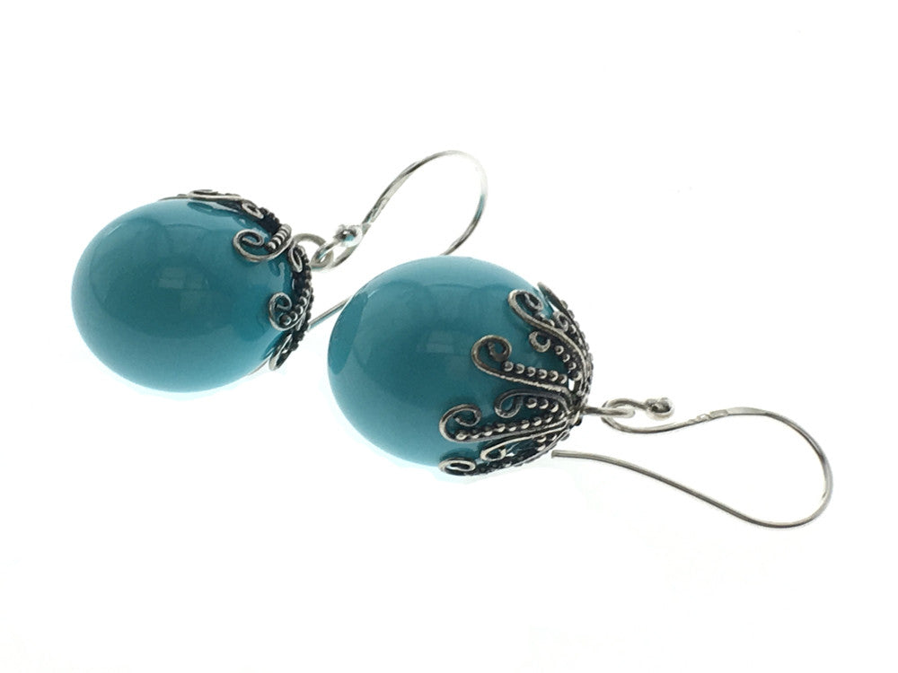 Blue 14mm Ball Sterling Silver Earring - Essentially Silver Jewelry