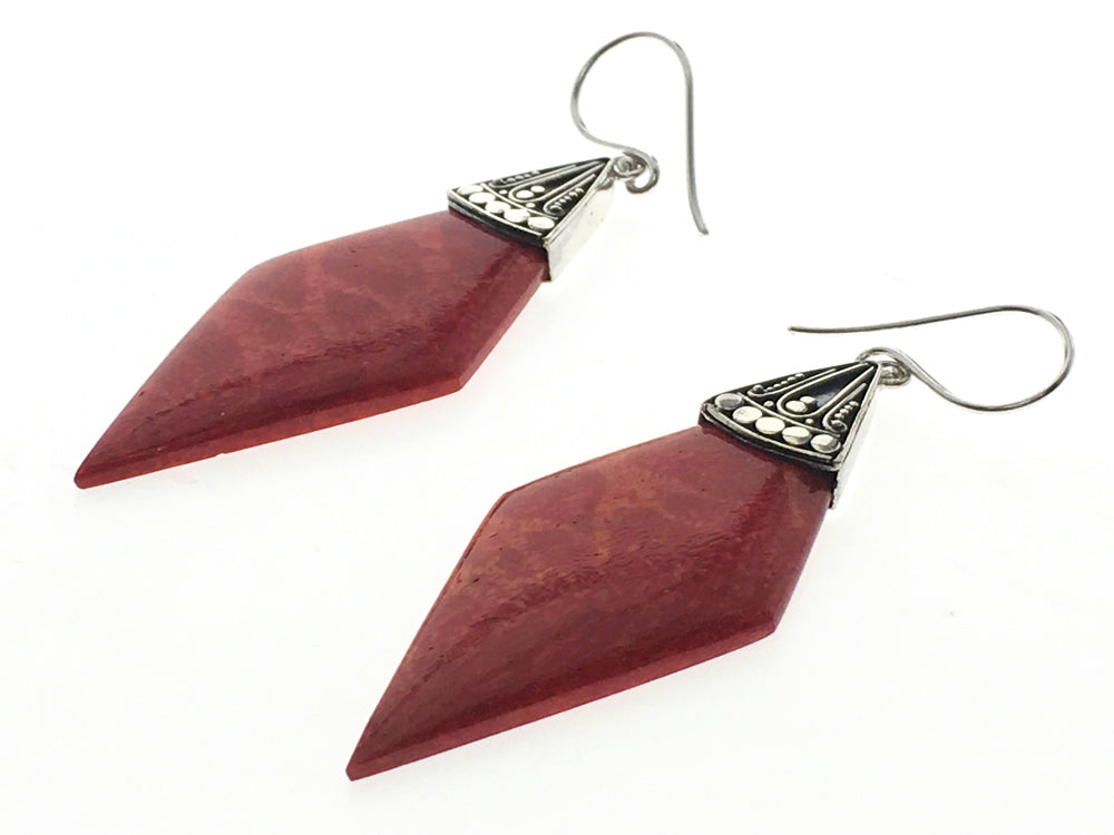 Red Coral Pointed Sterling Silver Earring - Essentially Silver Jewelry