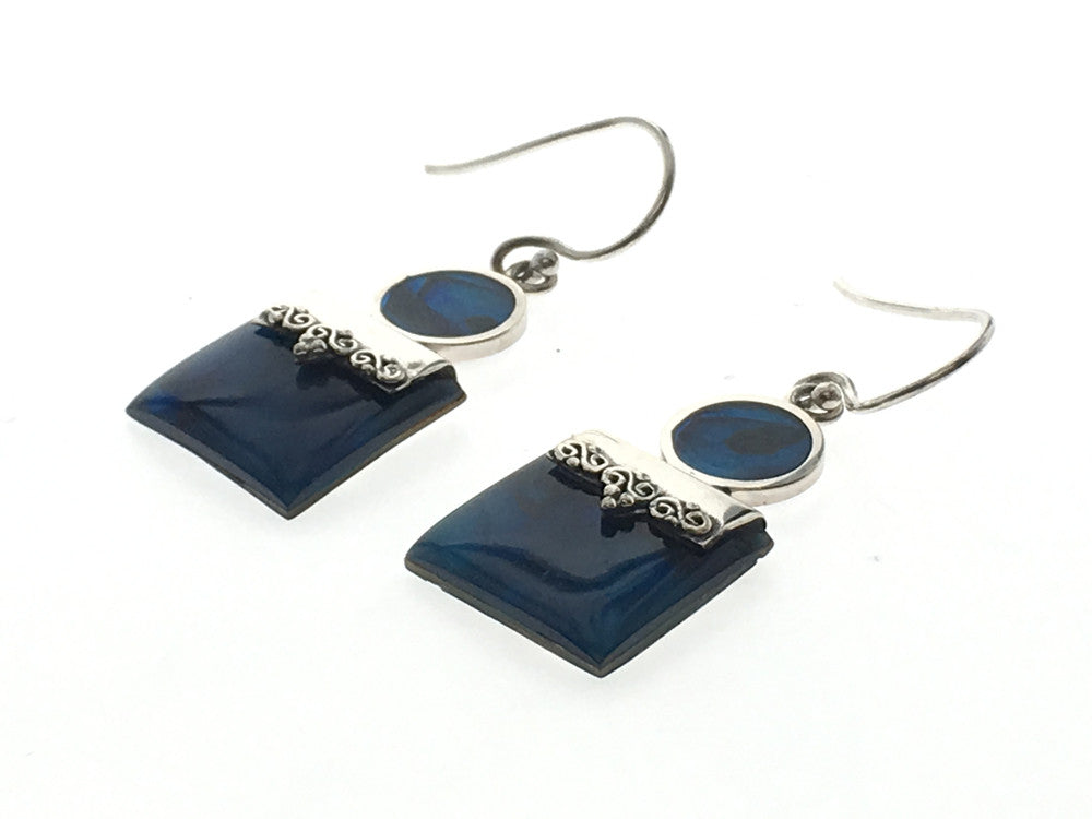 Paua Circle & Square Dyed Blue Sterling Silver Earring