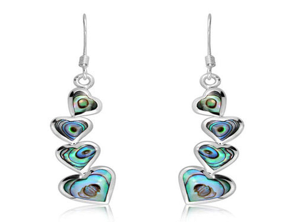 Paua Hearts Sterling Silver Earrings - Essentially Silver Jewelry