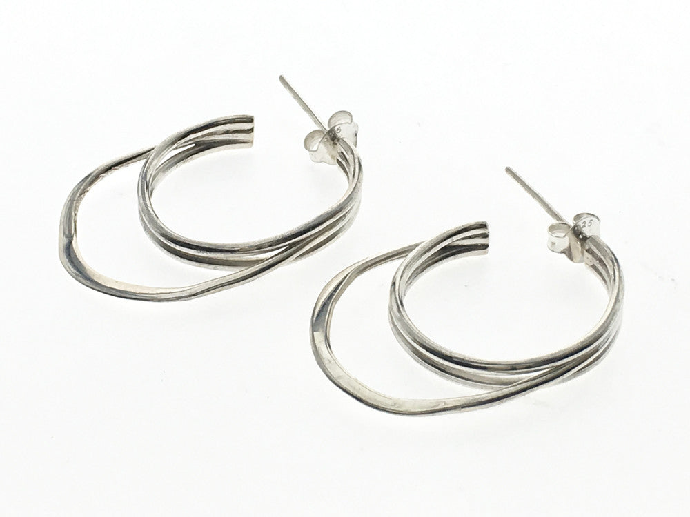 Hoop Double .925 Sterling Silver Earring