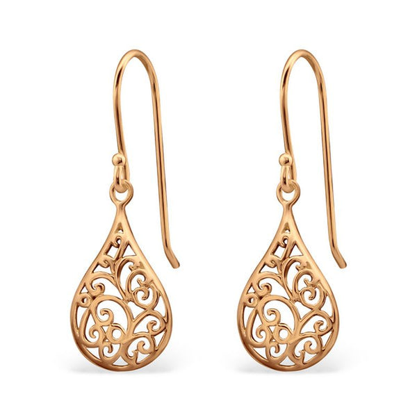 Rose Gold Plated Filagree Sterling Silver Earrings