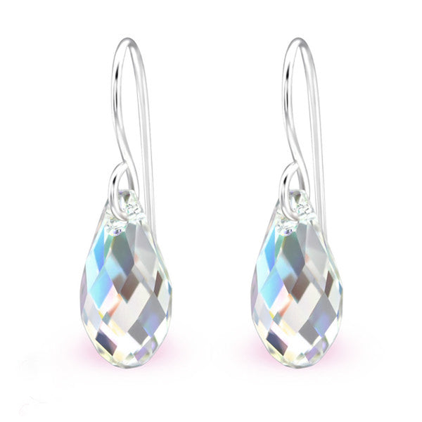 Sterling Silver Teardrop Crystal Earrings