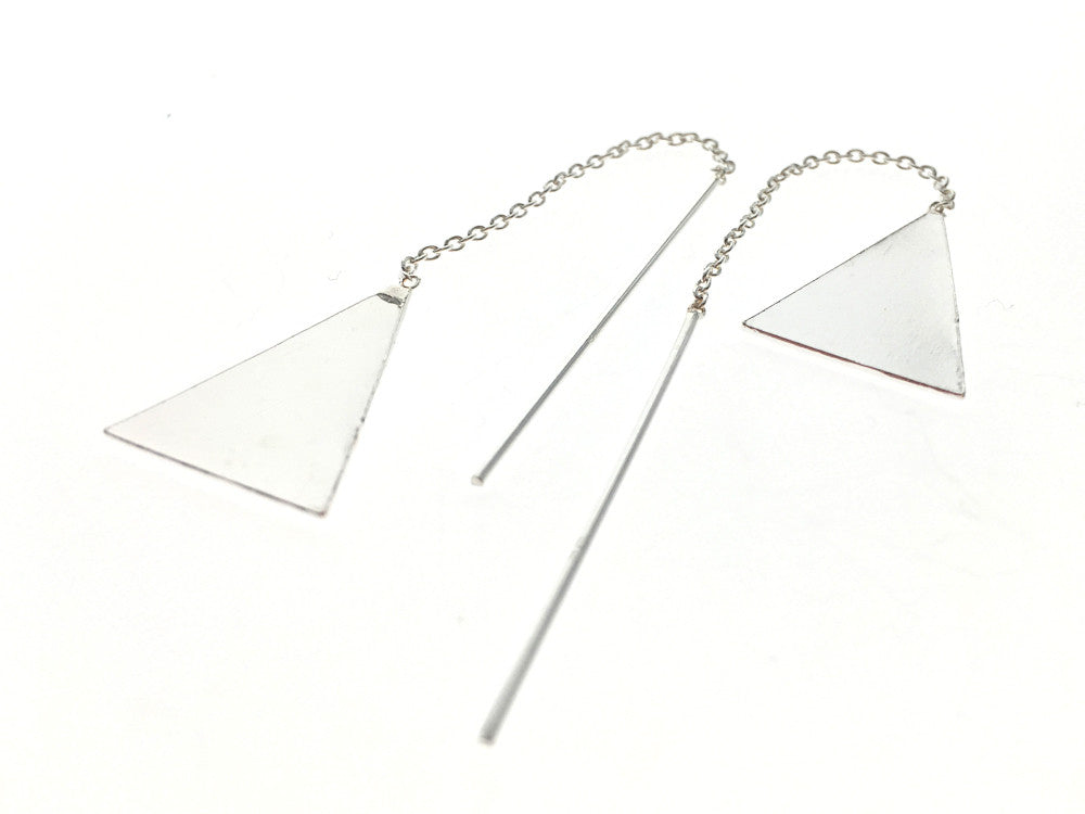 Threader Triangle Drop Sterling Silver Earrings - Essentially Silver Jewelry