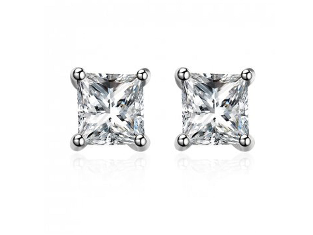 Cubic Zirconia 5mm Square Sterling Silver Studs - Essentially Silver Jewelry