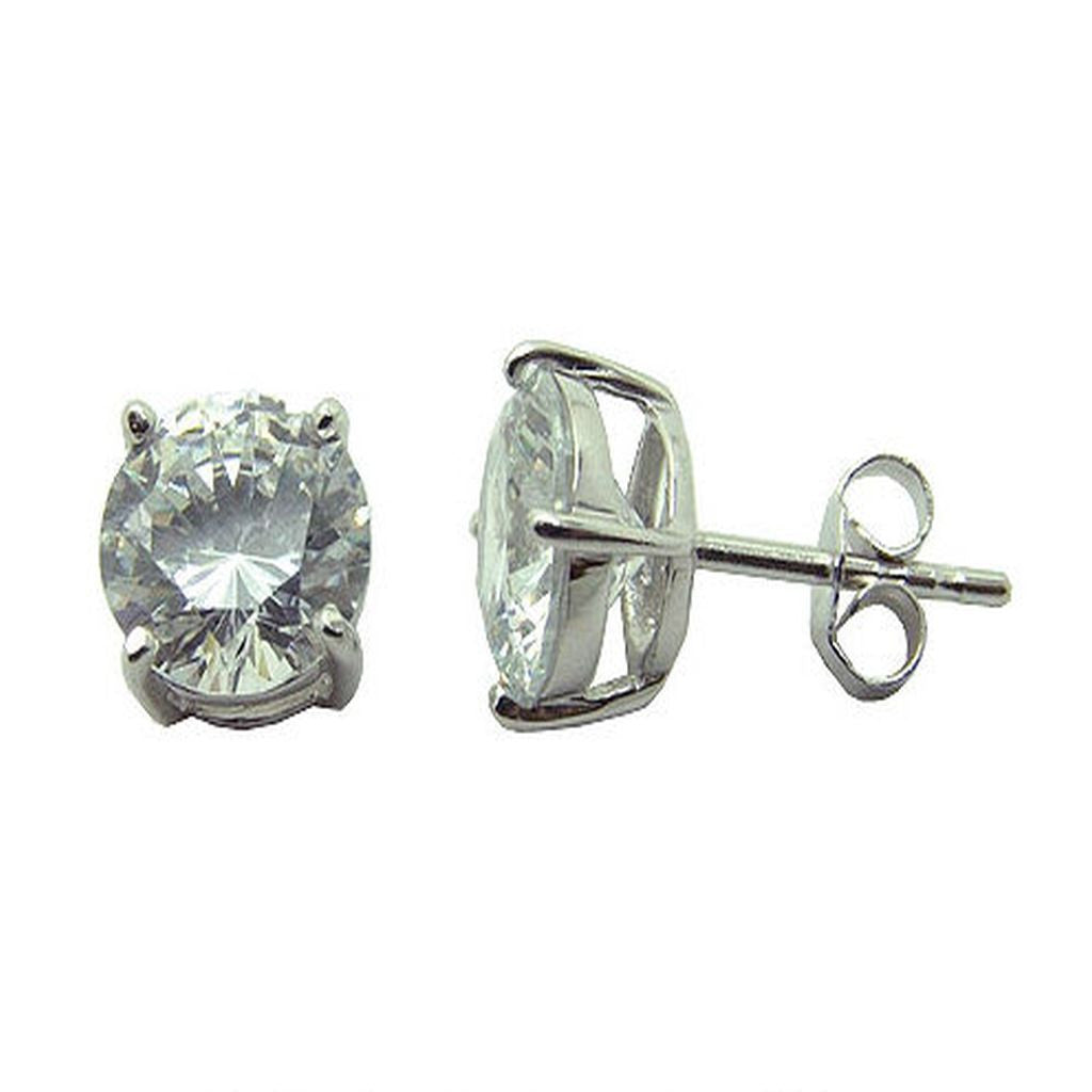 Cubic Zirconia 8mm Sterling Silver Stud - Essentially Silver Jewelry