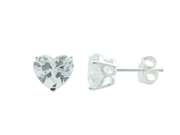 Heart Cubic Zirconia .925 Sterling Silver Studs - Essentially Silver Jewelry