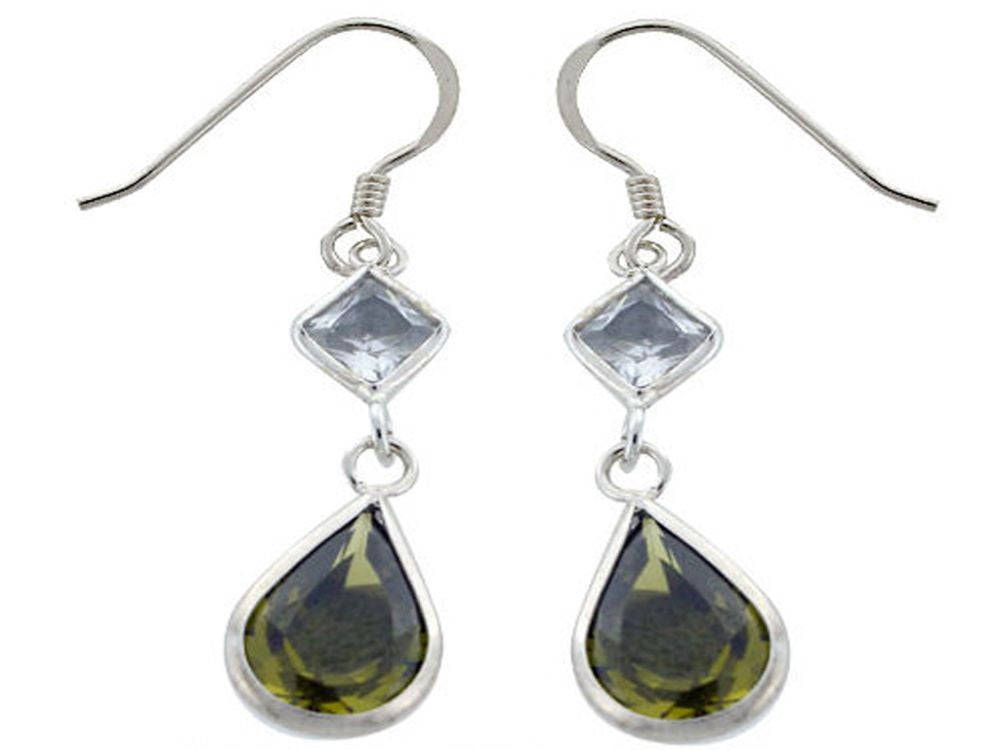 Green & Clear Cubic Zirconia Sterling Silver Earrings - Essentially Silver Jewelry