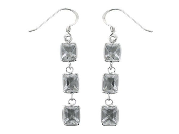 Cubic Zirconia Triple Drop .925 Sterling Silver Earrings - Essentially Silver Jewelry