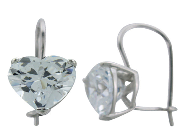Heart Cubic Zirconia Sterling Silver Drop Earrings