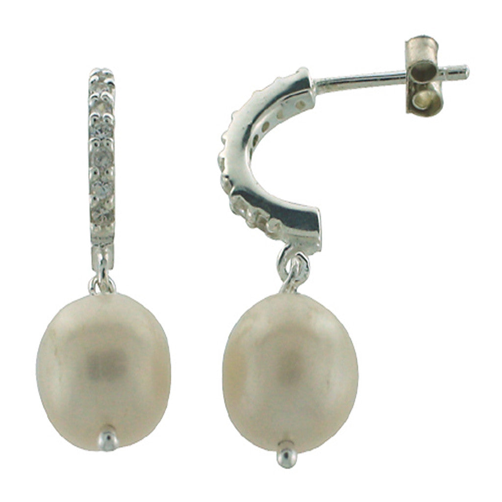 Cubic Zirconia Hoop with Pearl Drop Sterling Silver Earrings - Essentially Silver Jewelry