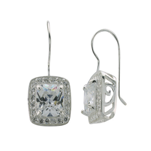 Cubic Zirconia Encrusted Centre .925 Sterling Silver Earring - Essentially Silver Jewelry