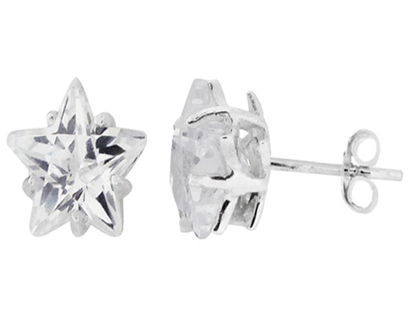 Star Cubic Zirconia Sterling Silver Studs - Essentially Silver Jewelry