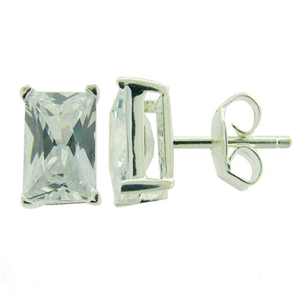 Cubic Zirconia 6mm Rectangle  Sterling Silver Studs - Essentially Silver Jewelry