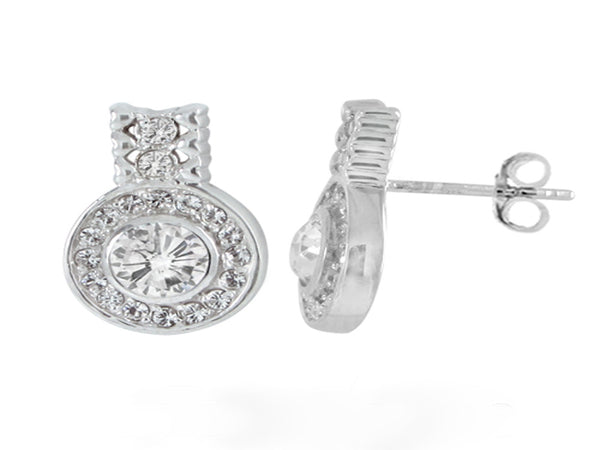 Crystal Halogen Sterling Silver Earrings - Essentially Silver Jewelry