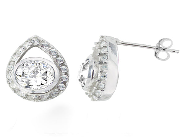 Crystal Studded Petal .925 Sterling Silver Stud Earring - Essentially Silver Jewelry