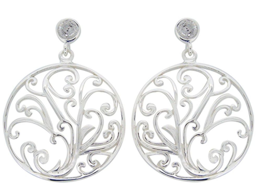 Tree of Life Cubic Zirconia .925 Sterling Silver Earrings - Essentially Silver Jewelry