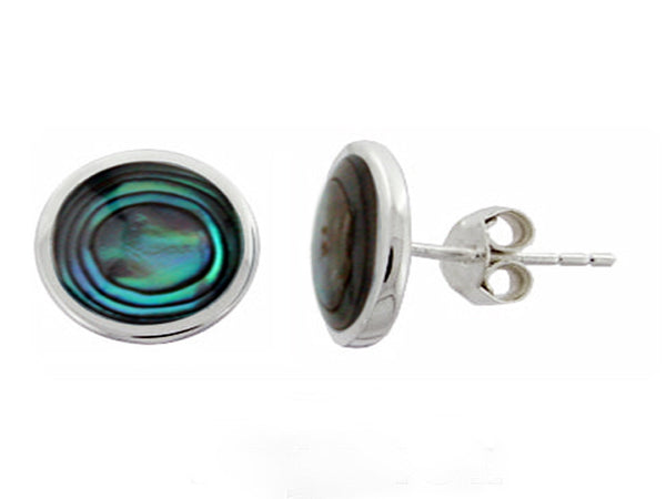 Paua Oval Sterling Silver Studs - Essentially Silver Jewelry