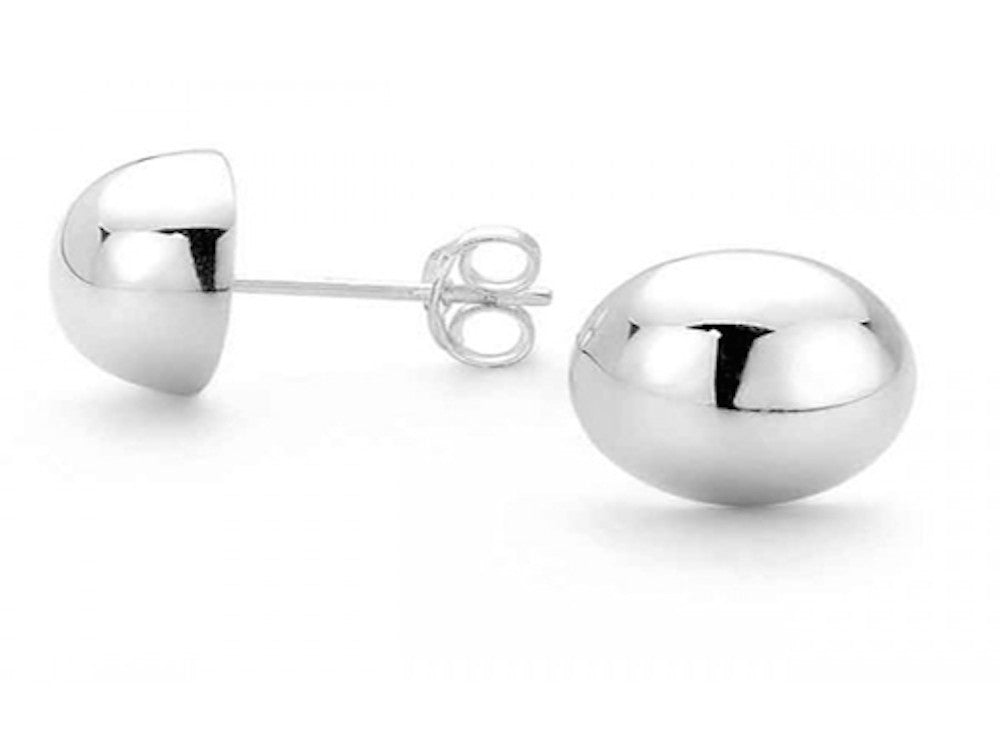 Half Ball 10mm Sterling Silver Studs - Essentially Silver Jewelry