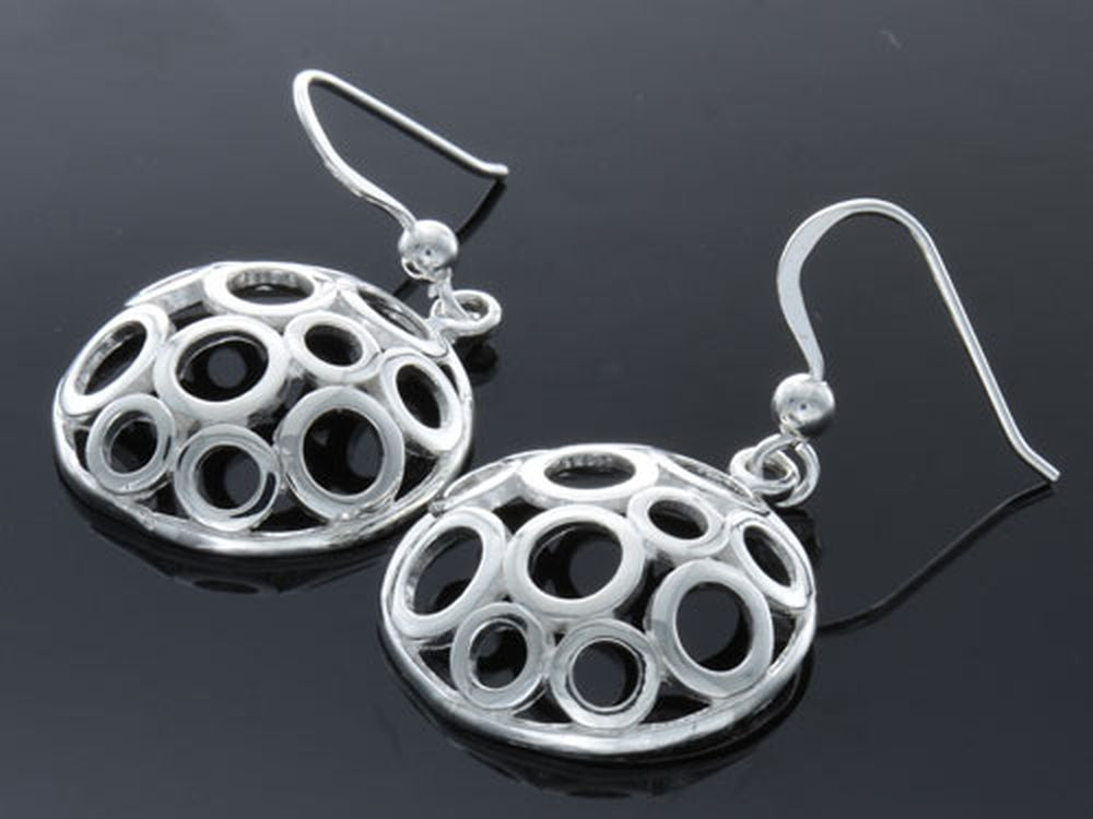 Holed Round Drop Sterling Silver Earring - Essentially Silver Jewelry