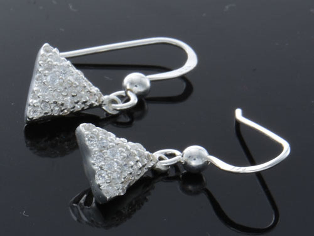 Triangle Cubic Zirconia .925 Sterling Silver Earrings - Essentially Silver Jewelry