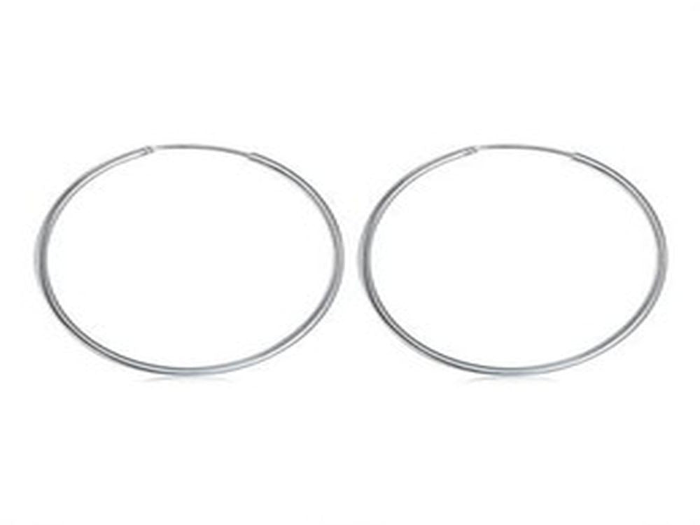 Hoop 2mm Length 40mm Sterling Silver Earrings - Essentially Silver Jewelry
