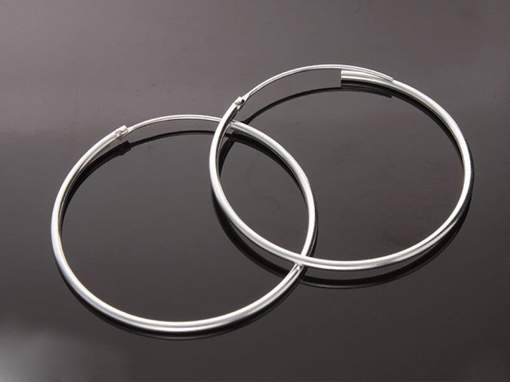 Hoop 2mm Length 55mm Sterling Silver Earrings - Essentially Silver Jewelry