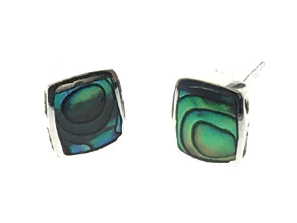 Paua Square 6mm Sterling Silver Earrings - Essentially Silver Jewelry