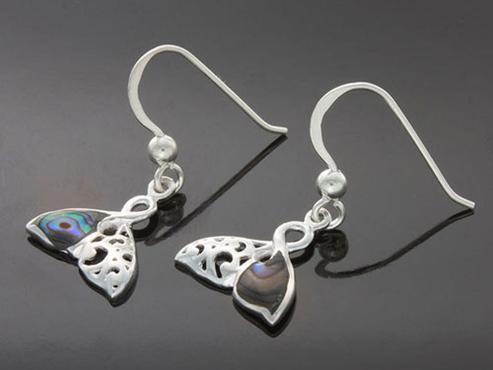Paua Whale Tail .925 Sterling Silver Earring - Essentially Silver Jewelry