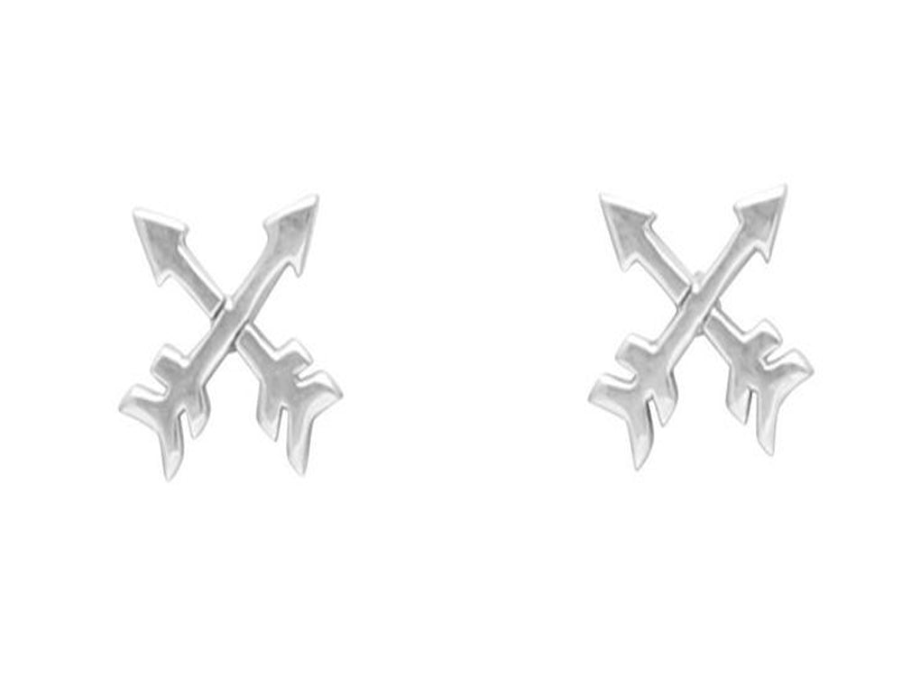 Cross Arrows .925 Sterling Silver Stud Earrings - Essentially Silver Jewelry