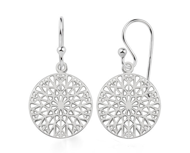 Patterned Round Sterling Silver Earring - Essentially Silver Jewelry