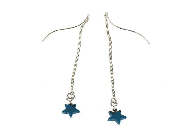 Turquoise Star Chain Sterling Silver Earring - Essentially Silver Jewelry