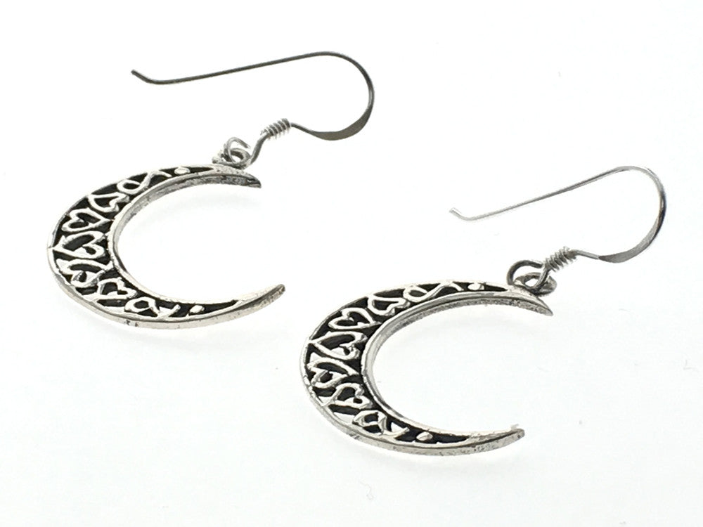 Moon Heart Drop Sterling Silver Earring - Essentially Silver Jewelry