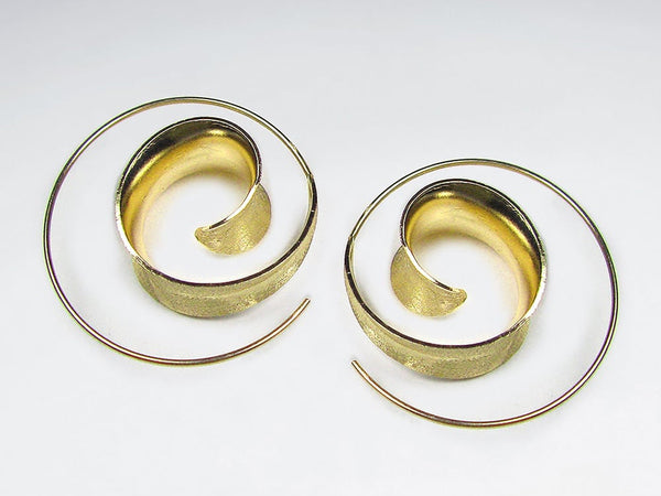 Matte Sterling Silver Gold Plated Spiral Loop Earring