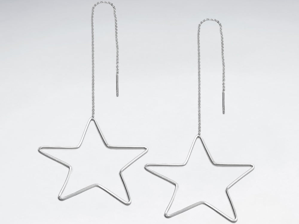 Sterling Silver Openwork Large Star Threader Earring