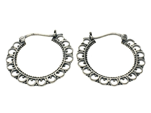 Oxidised Textured U-Hoop Silver Earrings