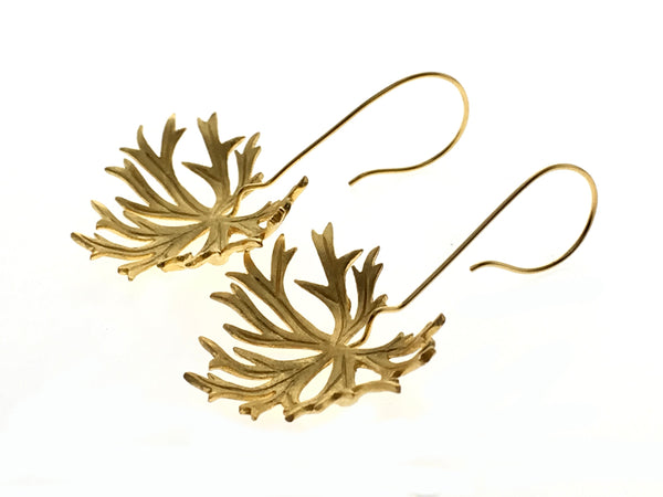 18K Gold Plated Crackled Leaf Sterling Silver Earring